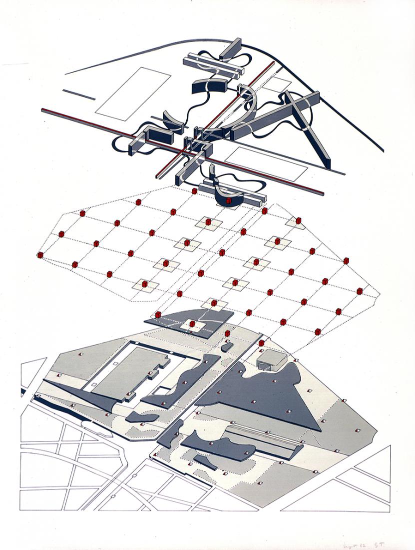 Bernard Tschumi Axonométrica explotada de Puntos, Líneas, Superficies del Parque de la Villette. Imagen © BTA 1982.