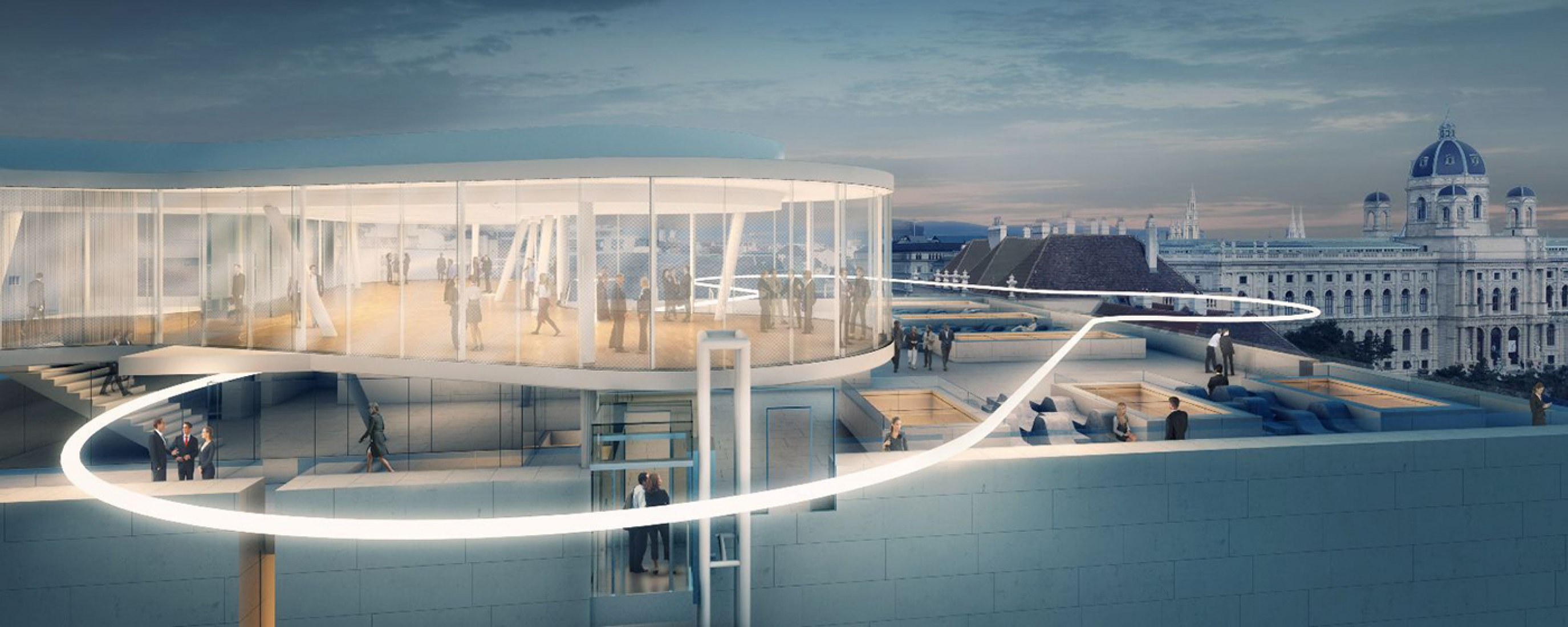 Rendering of pavilion and rooftop from outside, 2014. Libelle MQ, by O&O Baukunst.