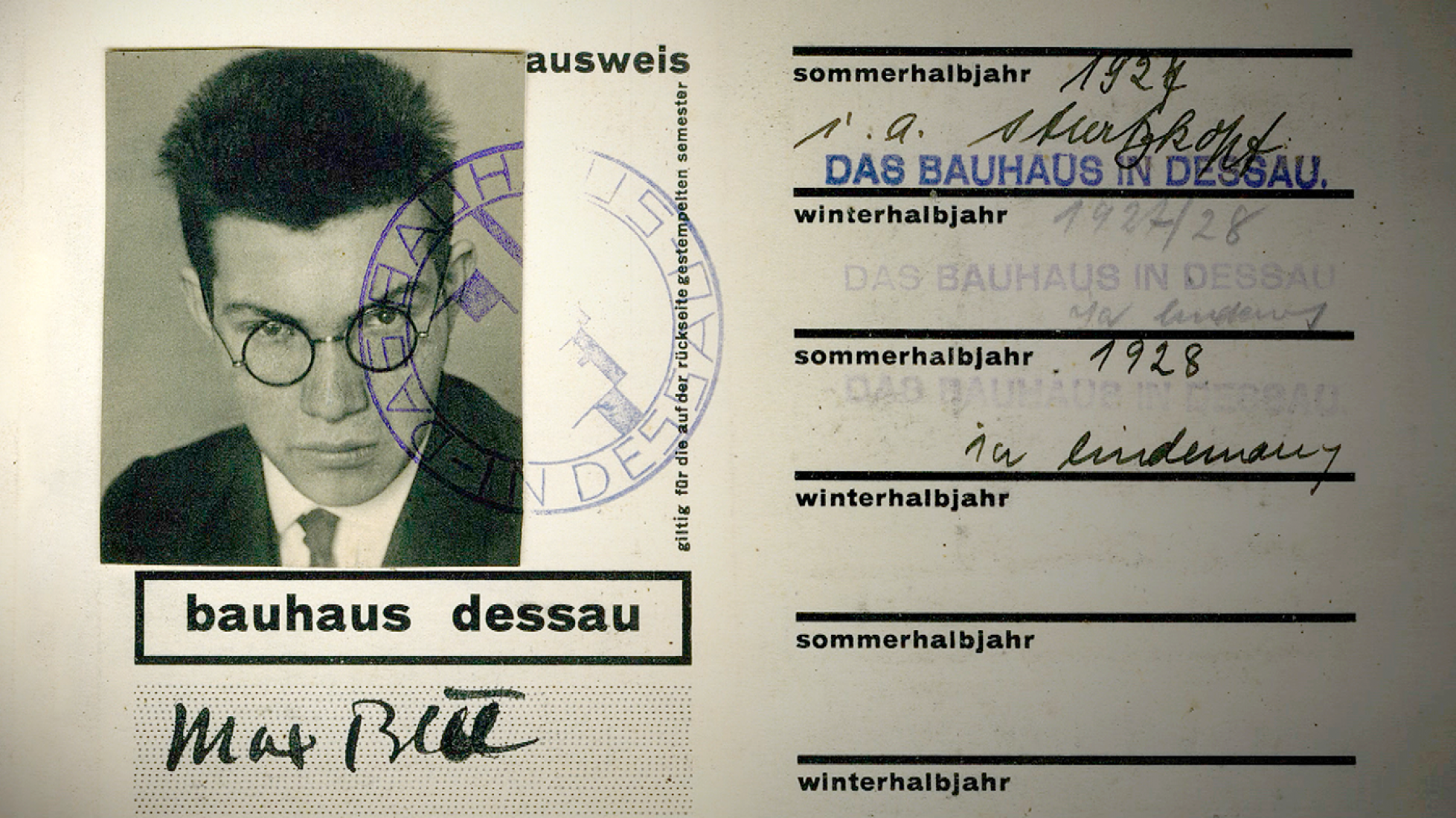 Max Bill's student card of the Bauhaus 1927-1928. Image from the documentary film
