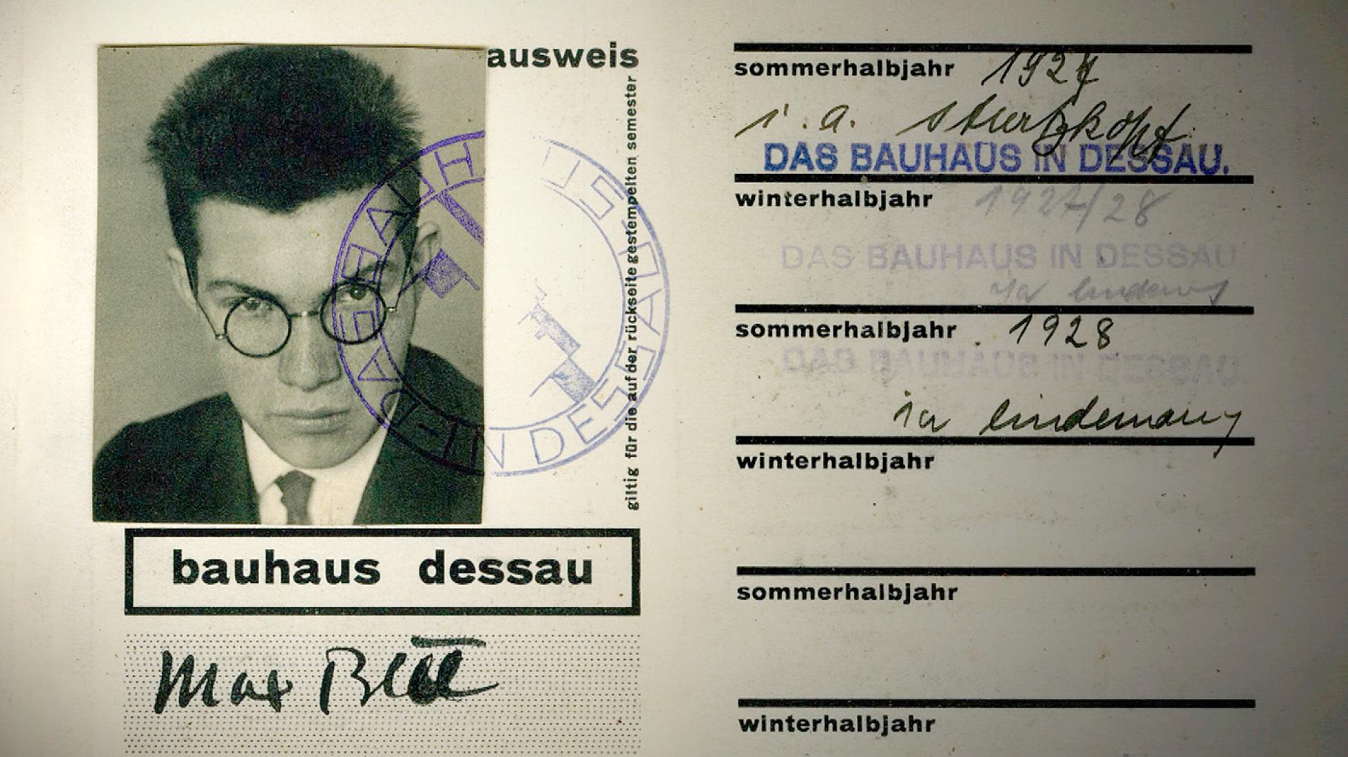 Carnet de estudiante de la Bauhaus 1927-1928. Imagen de la película documental
