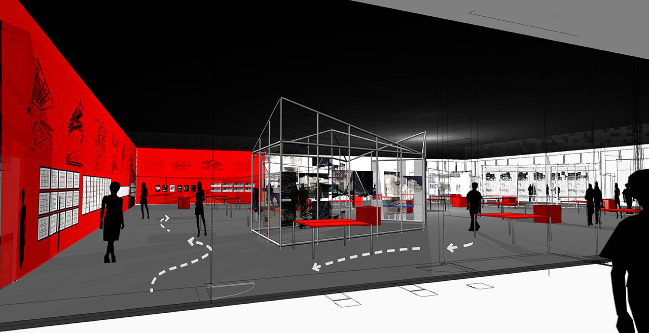 Bernard Tschumi. Escenografía de la Exposición en el Centro Pompidou 2014. Imagen © BTA.