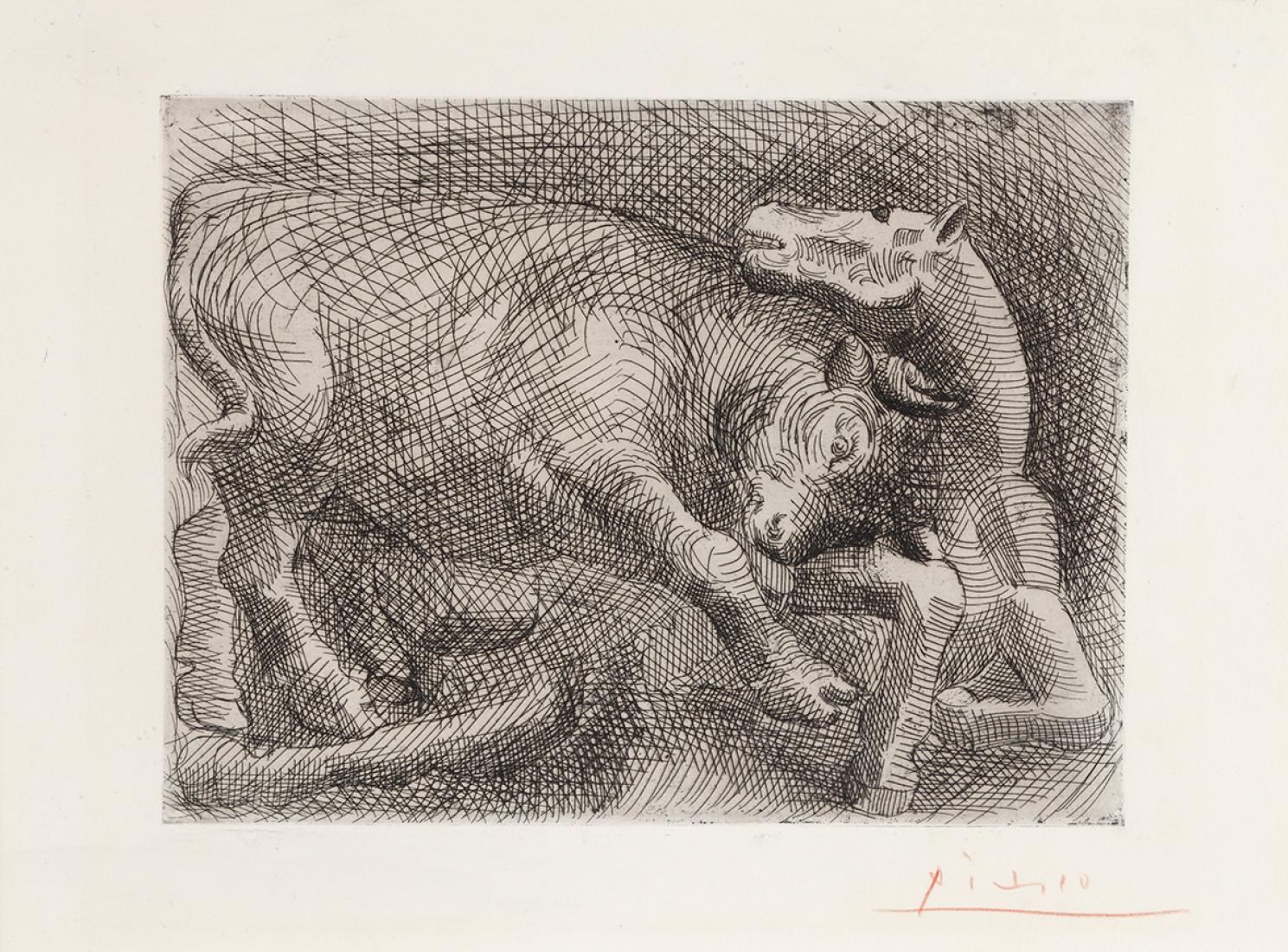 Toro atacando un caballo, Pablo Ruiz Picasso, 1921. Imagen cortesía de Galería Guillermo de Osma. Señala encima de la imagen para verla más grande.