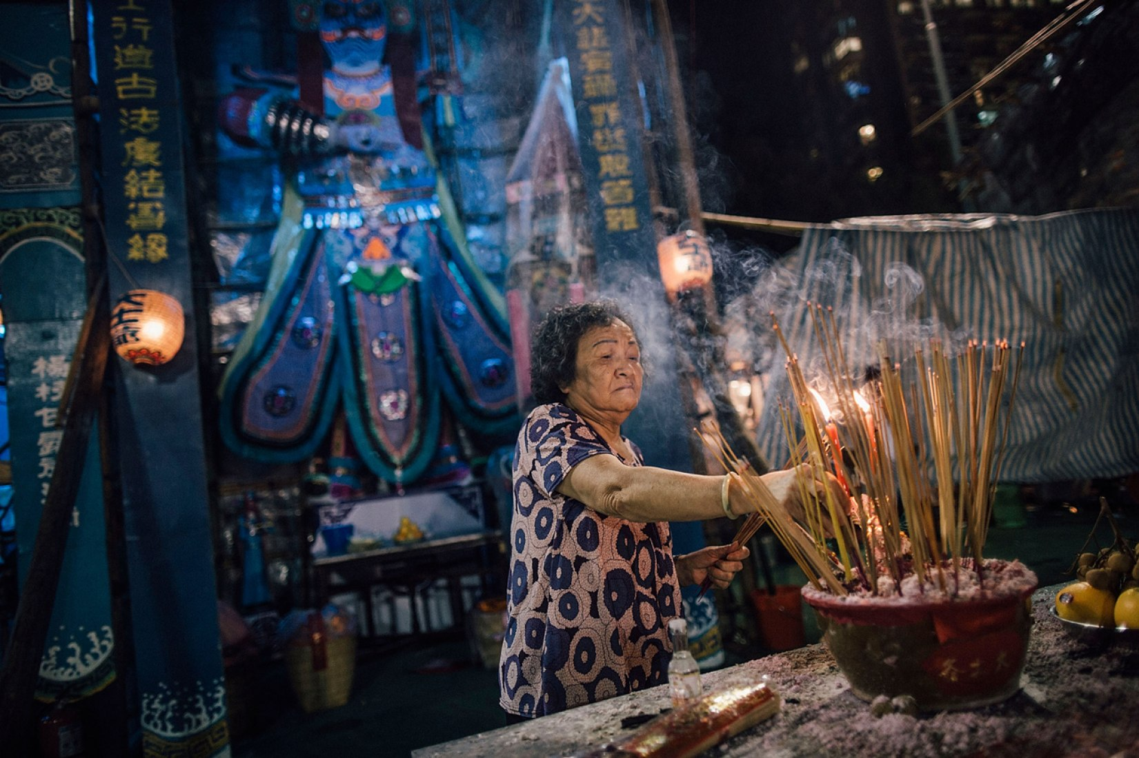 Worshippers make offerings at a park during the month of the Hungry Ghost Festival on August 14, 2015 in Hong Kong.