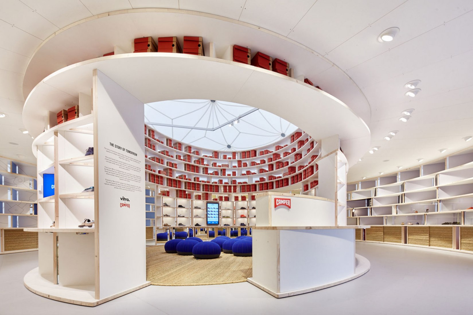 Interior view. Vitra & Camper: Pop-up project on the Vitra Campus by Kere Architecture. Image courtesy of Vitra.