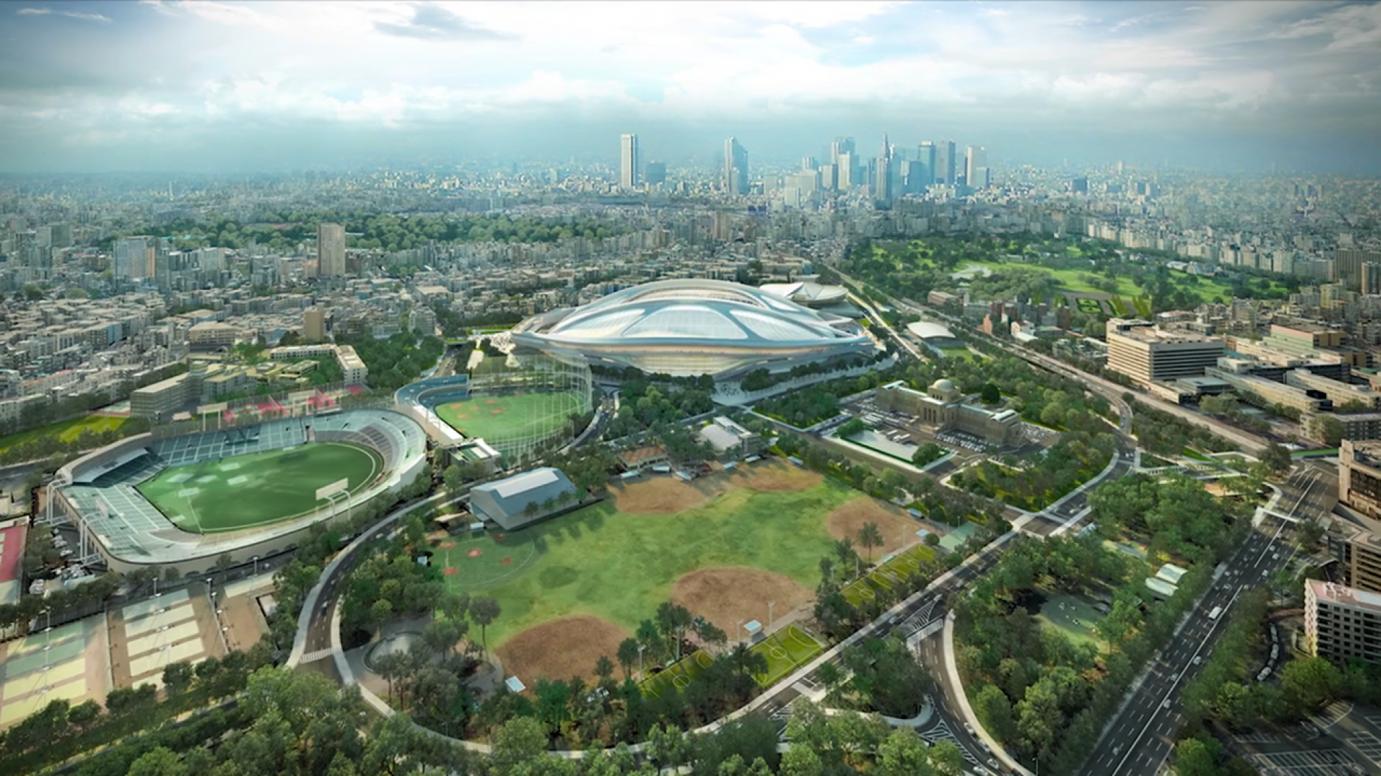 Tokyo overview. New National Stadium in Tokyo by Zaha Hadid Architects. Video screenshot.