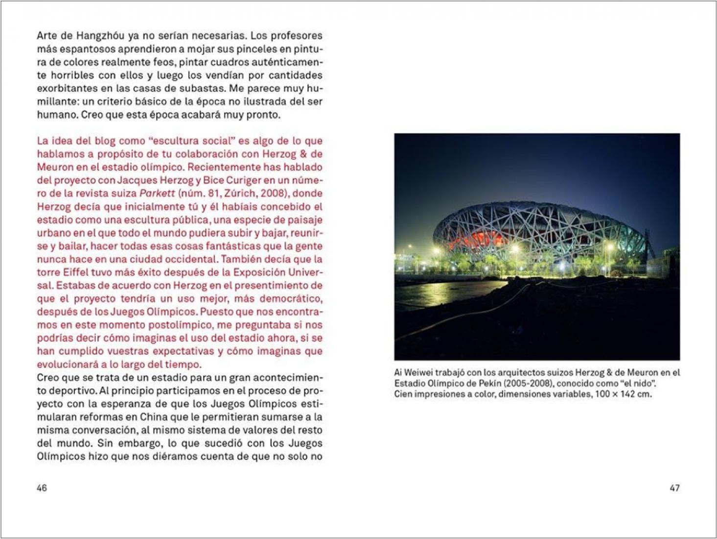 Páginas interiores. Ai Weiwei. Conversaciones. Ed. Gustavo Gili. Señala encima de la imagen para verla más grande.