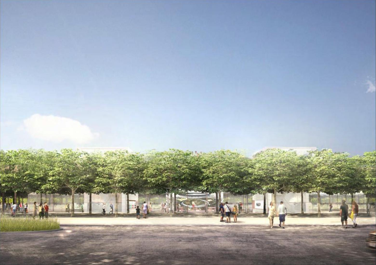 Visualización del exterior. Centro de visitantes del Campus 2 de Apple por Foster + Partners. Imagen cortesía de Apple.