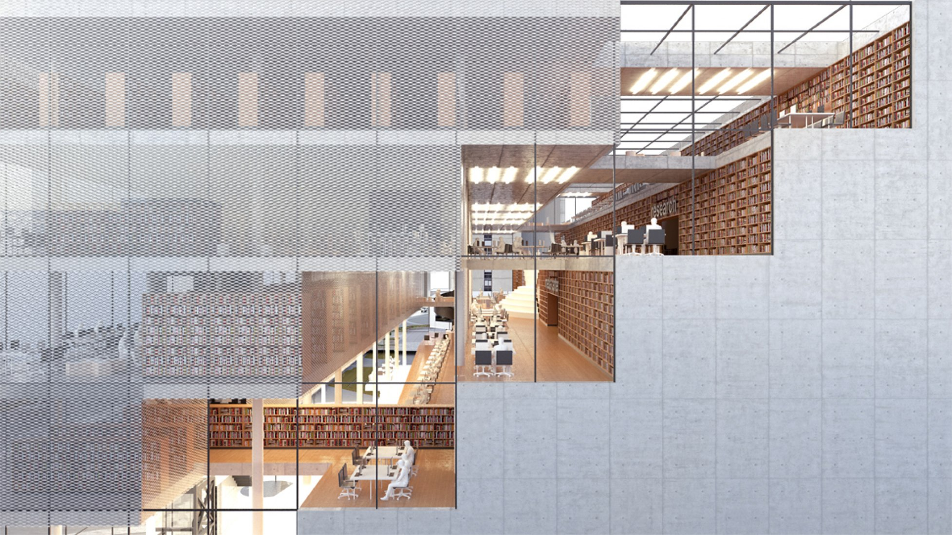 Outside vision, rendering. Varna Regional Library by Architects for Urbanity. Image © Architects for Urbanity.