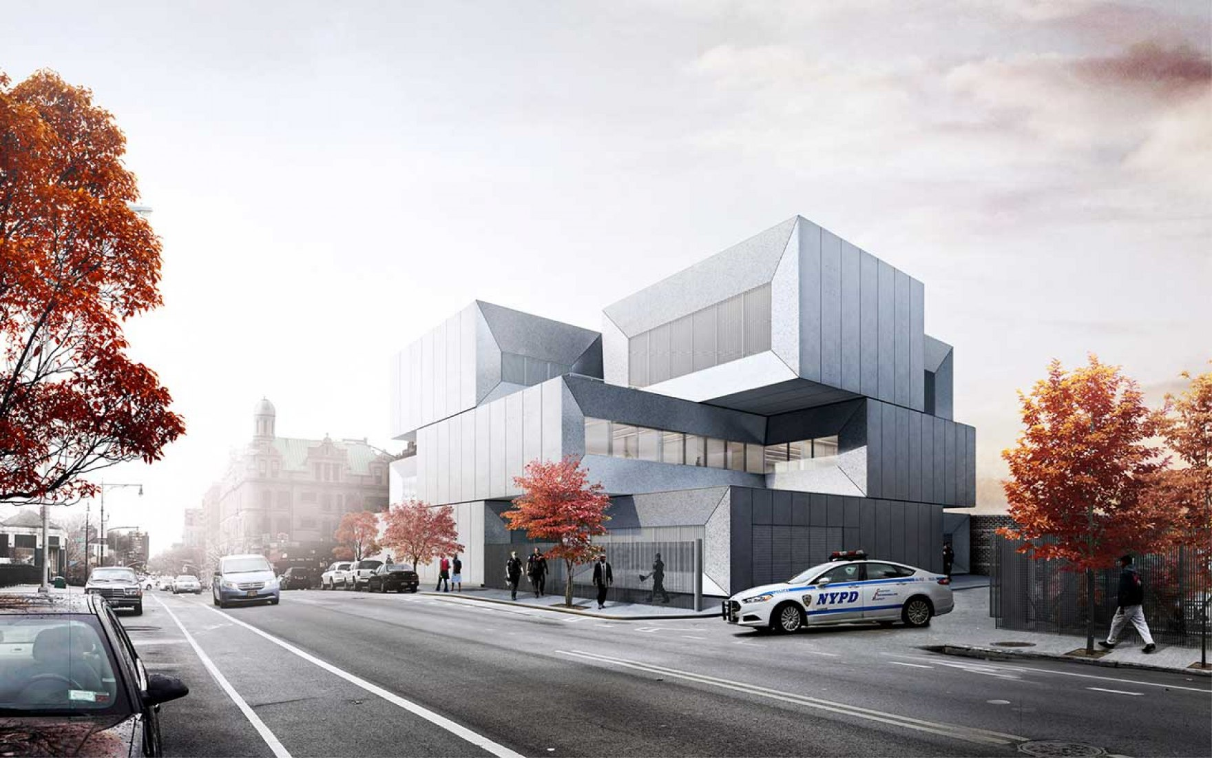 Outside vision, rendering. NYPD station for the 40th Precinct in the Bronx by BIG.
