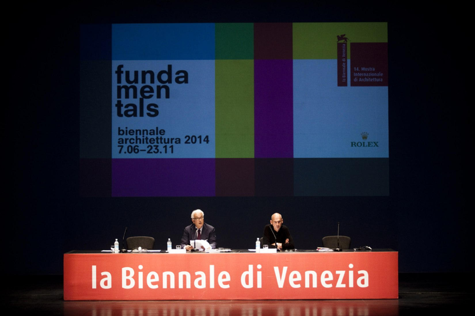 Paolo Baratta and Rem Koolhaas. Photograph © Italo Rondinella. Courtesy of the Venice Biennale.