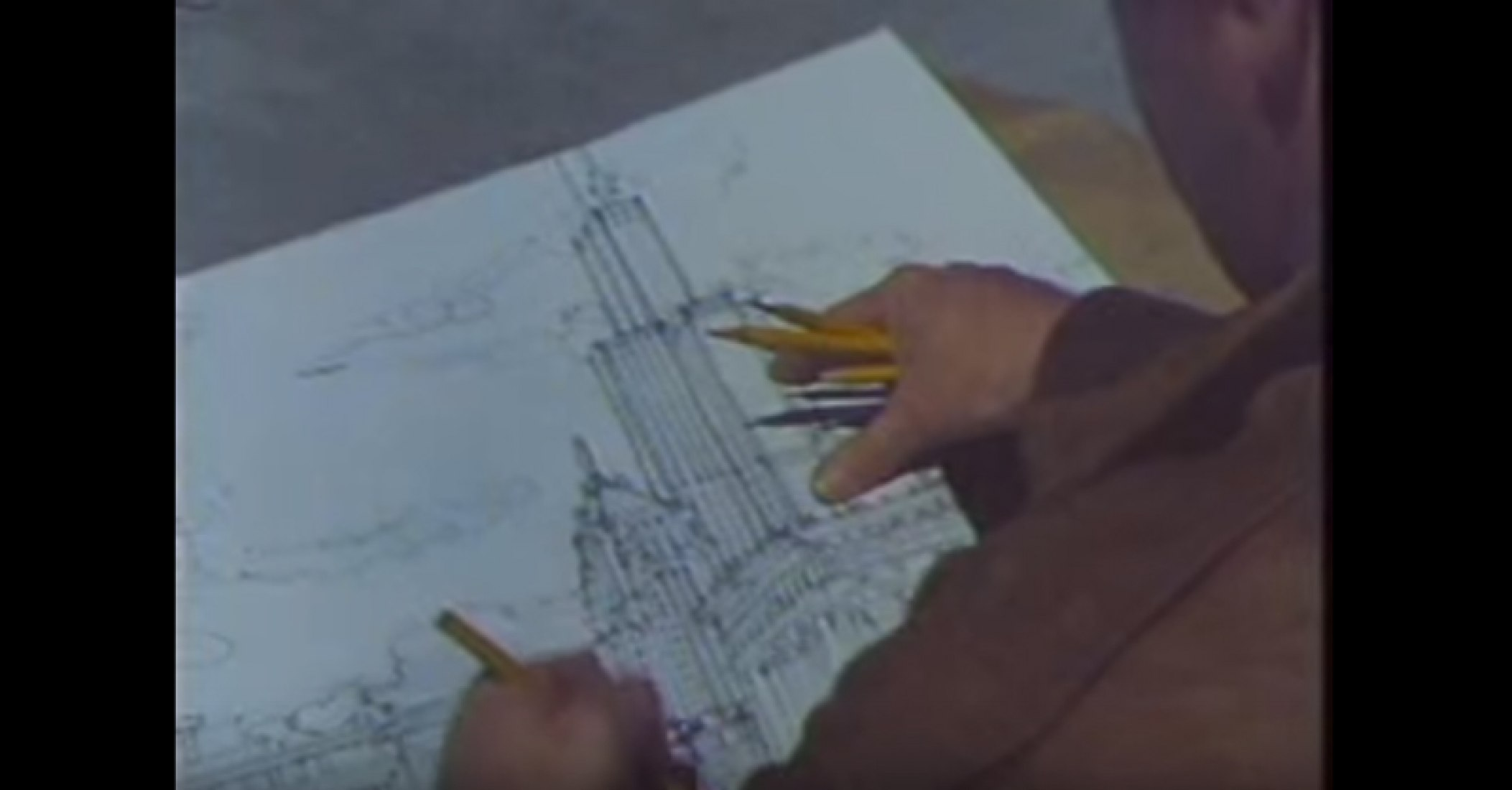 Video screenshot of the documentary 'Design Wars' on the competition to design the Harold Washington Library.