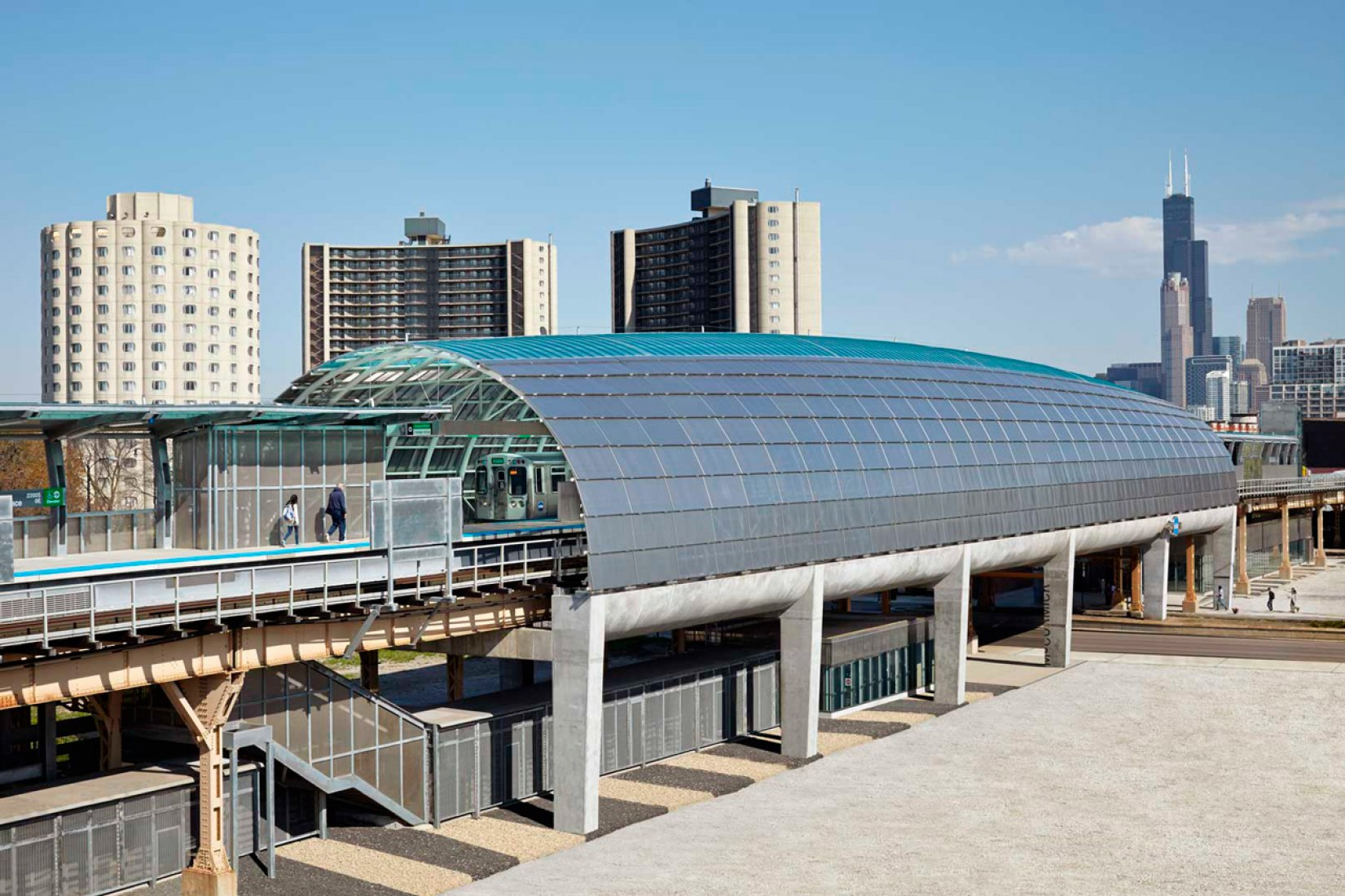 Cermak-McCormick Place Station by Ross Barney Architects. Photograph © Kate Joyce Studios.
