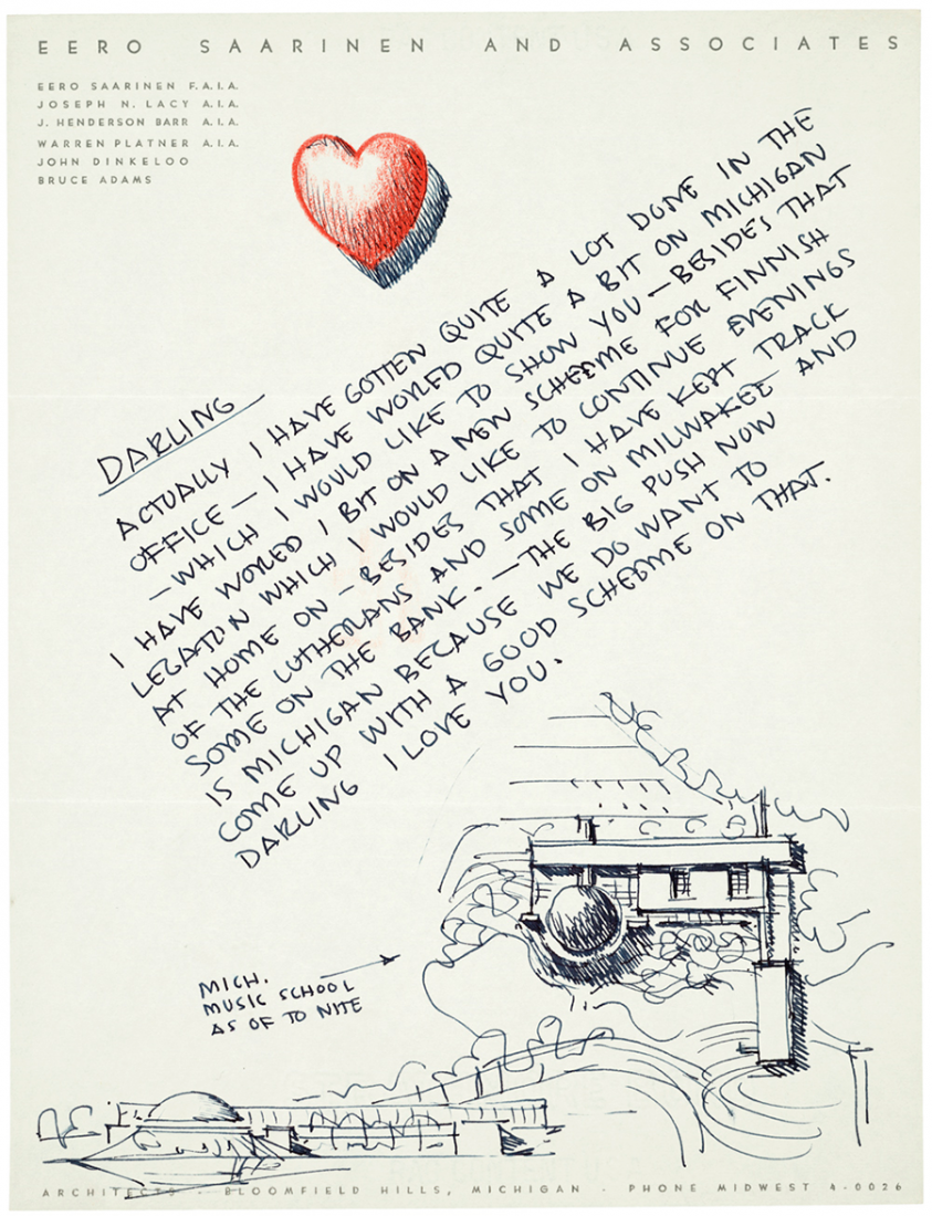 Letter from Eero Saarinen to his second wife Aline Bernstein in 1953, illustrating his plan for the Michigan Music School that would be finished in 1964