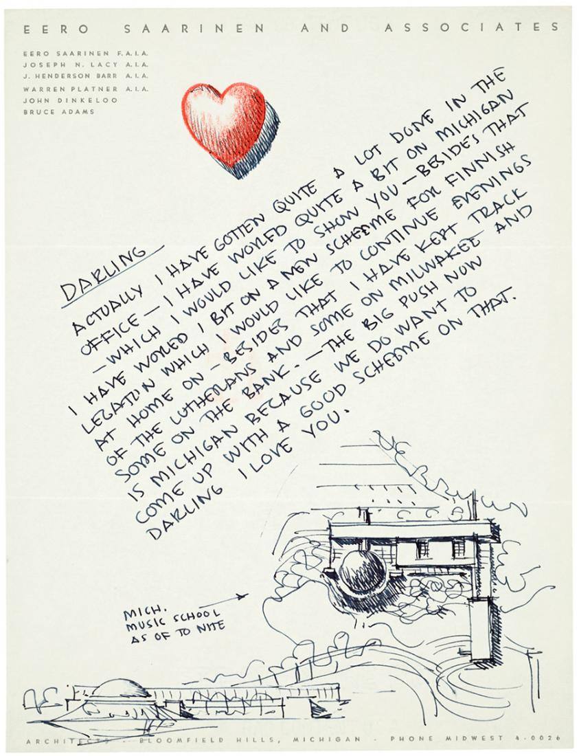 Carta de Eero Saarinen a su segunda esposa Aline Bernstein en 1953, mostrandole su idea para la Escuela de Música de Michigan que se terminó en 1964.
