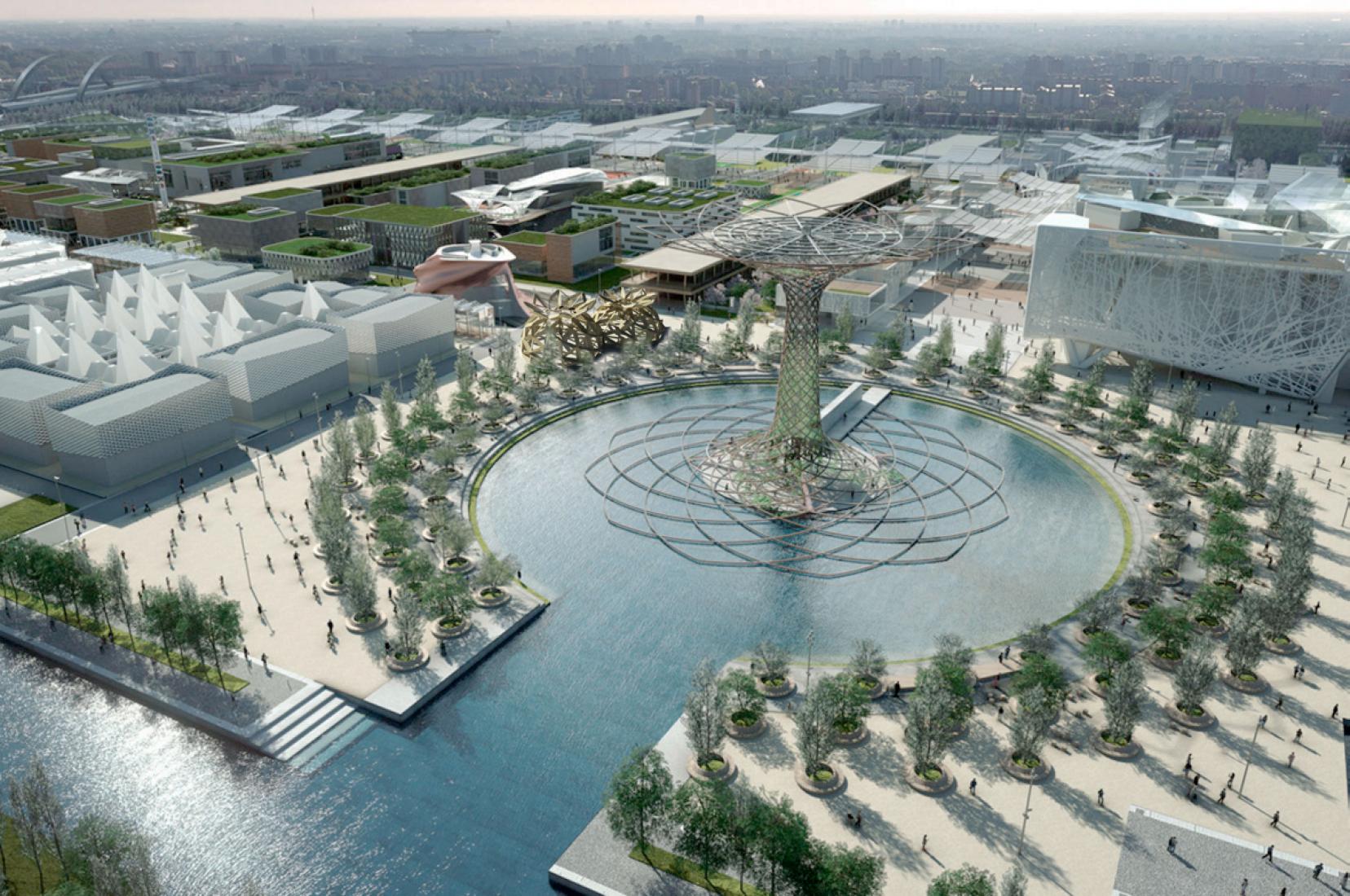 Vista general. Diseño de una cúpula por EMBT para COPAGRI en la Expo Milano 2015. Imagen por EMBT.