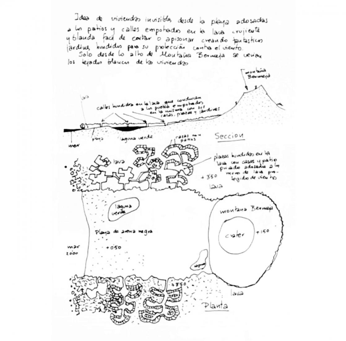 Scheme. Urbanization project of Montaña Bermeja by Fernando Higueras, 1963. Exhibition Fernando Higueras. Canarias and Las Salinas in CentroCentro Madrid.
