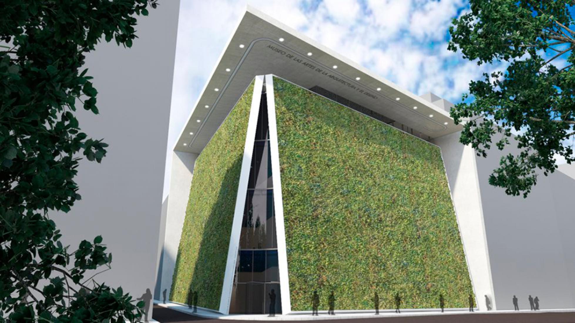 Proyección del Museo de las Artes de la Arquitectura, Diseño y Urbanismo en el paseo del Prado, diseñado por Emilio Ambasz. Imagen vía El País.