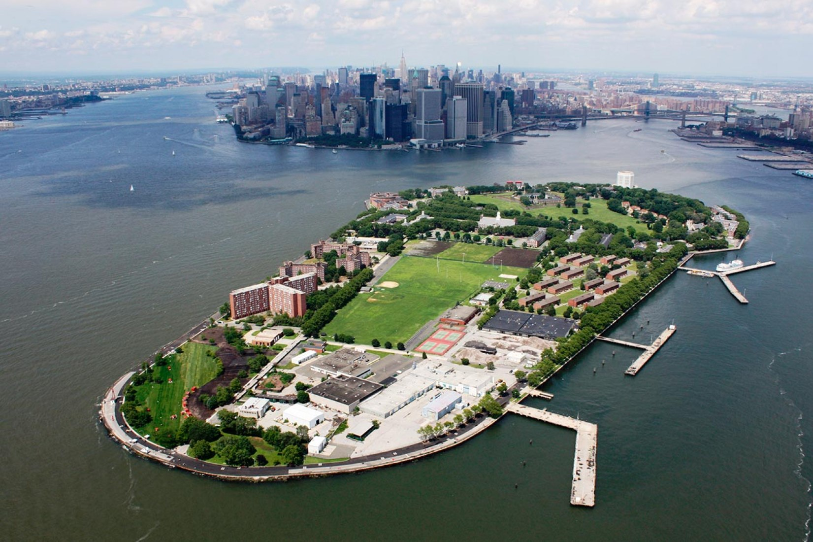 Overview Governors Island, New York.