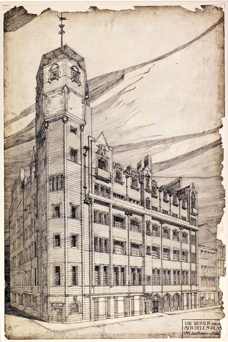 Charles Rennie Mackintosh's drawing for his extension to The Glasgow Herald building (1894). The Hunterian, University of Glasgow 2014.