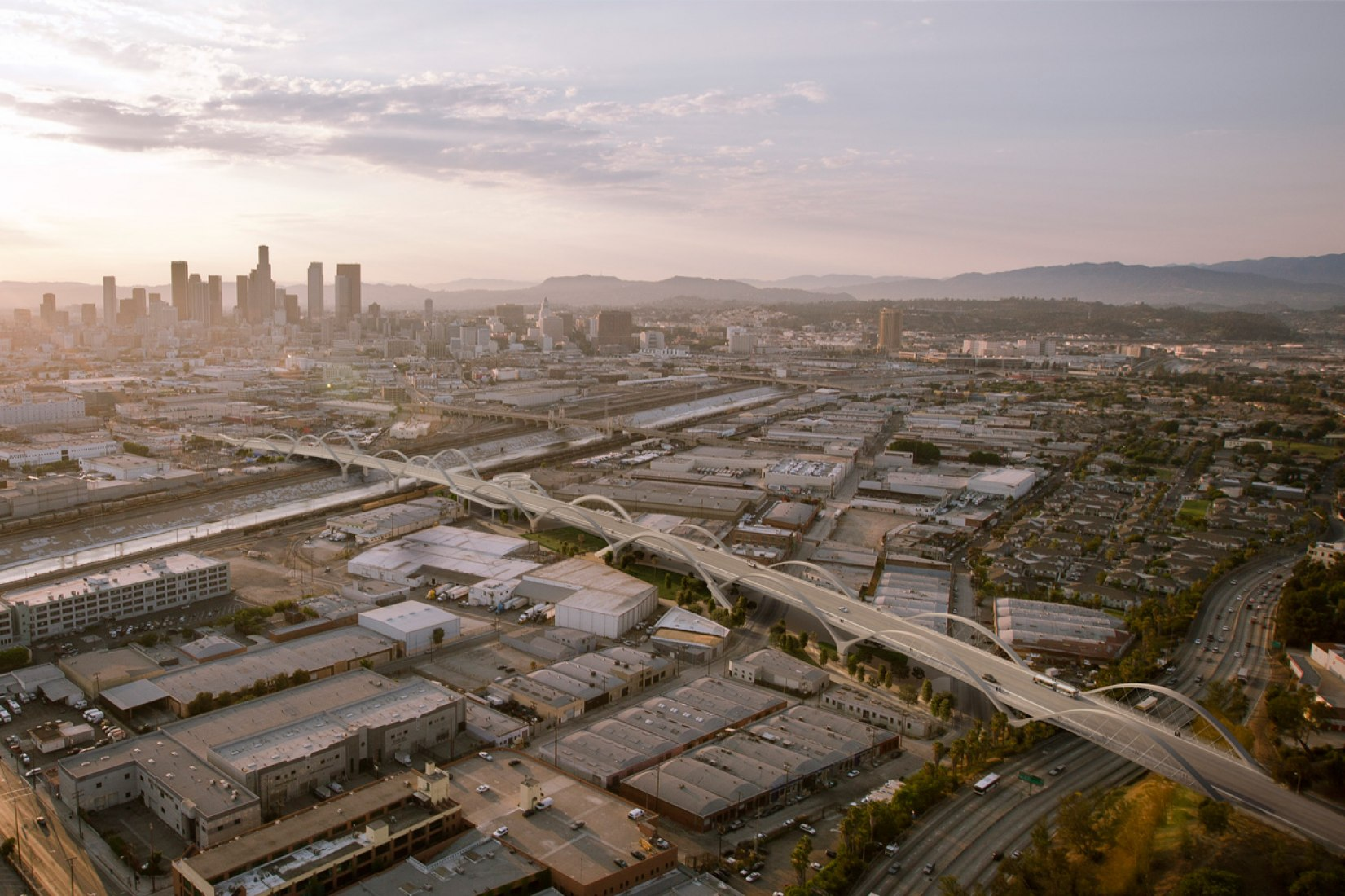 Vista general. Nuevo viaducto por Michael Maltzan en Los Ángeles. Visualización cortesía de Michael Maltzan Architecture.