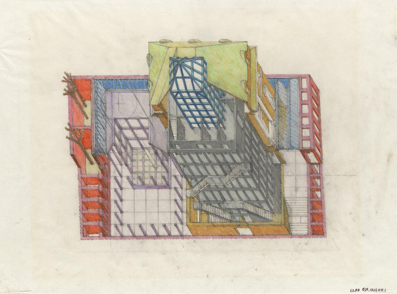 Oswald Mathias Ungers: Deutsches Architekturmuseum Frankfurt am Main, 1980 (kolorierte Zeichnung, ca. 40,0 x 30,0 cm) © DAM.