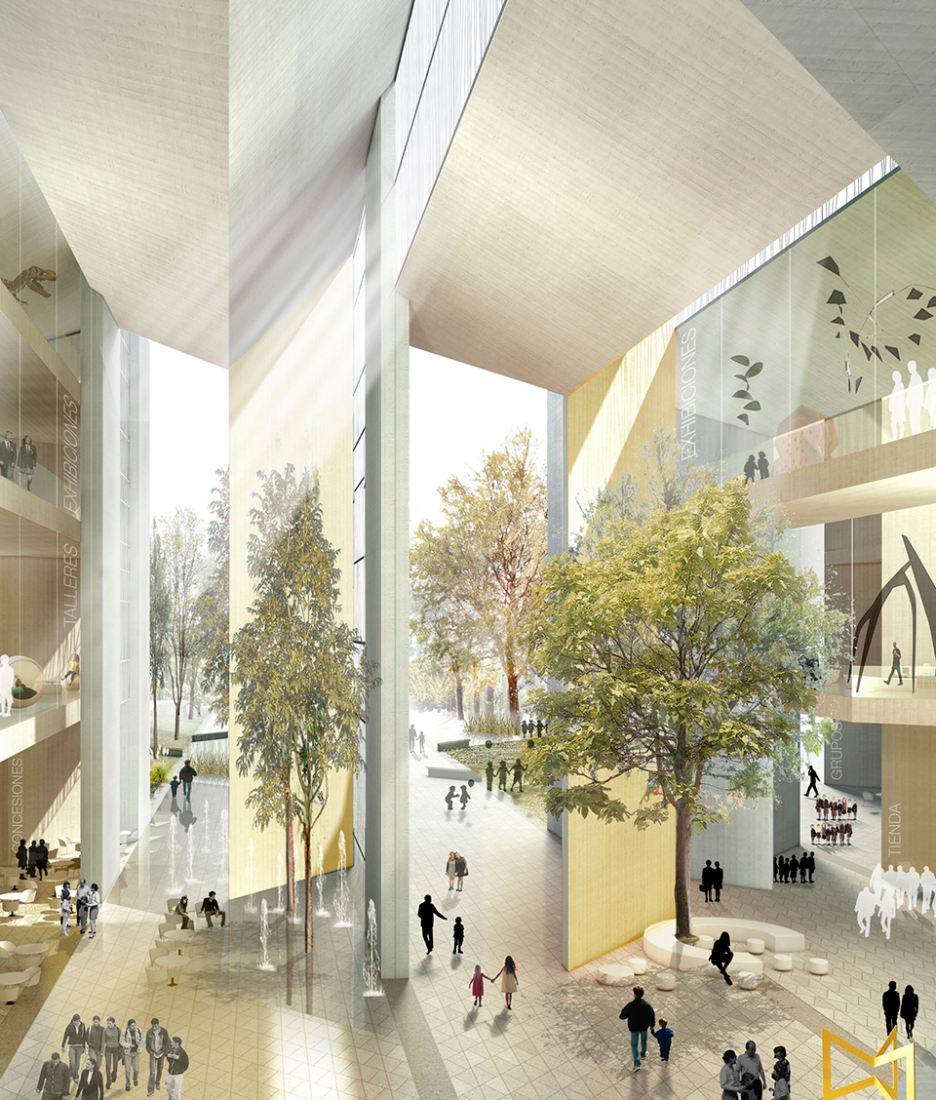 Inside rendering. MX_SI and SPRB winners for competition for Papalote Museo del Niño in Mexico.