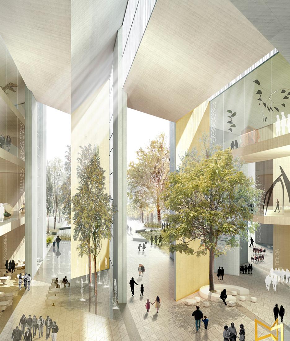 Visualización interior. MX_SI y SPRB ganadores del Concurso Nacional de Arquitectura del Museo del Niño al este de Ciudad de México.