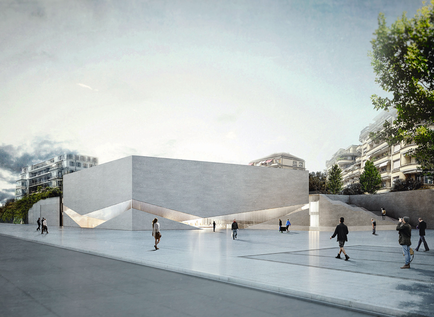 Outside vision, rendering. One museum, two museums, three spaces, by Aires Mateus architects.
