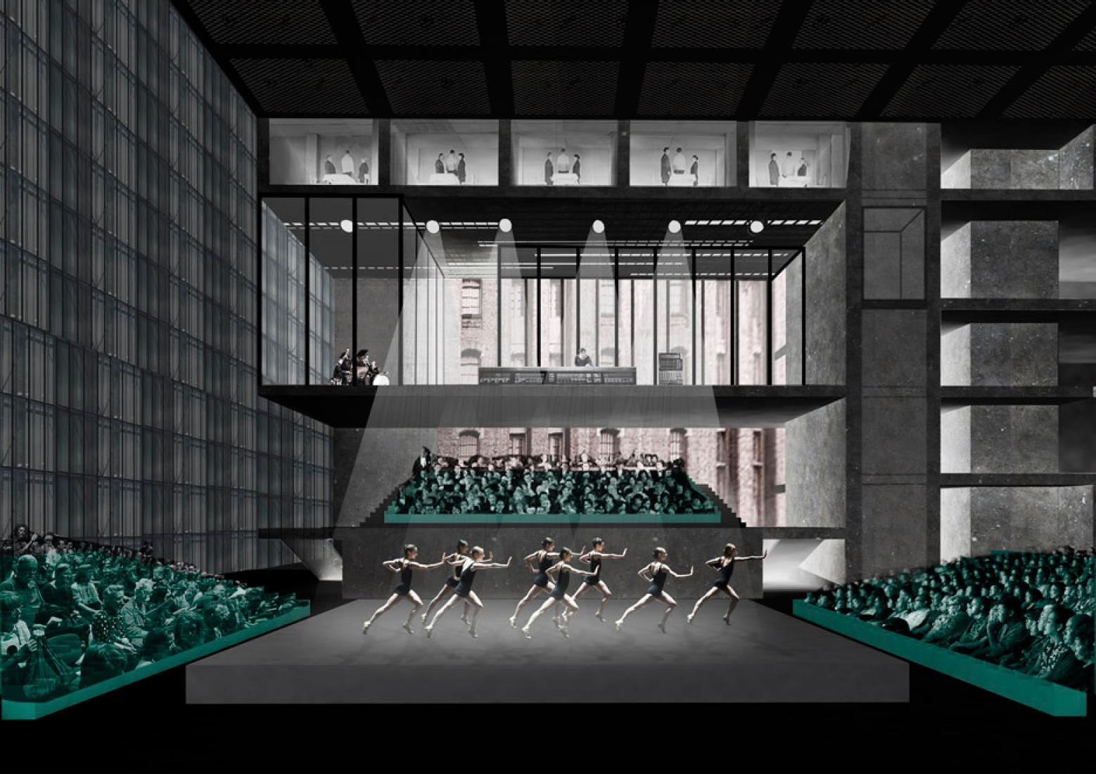 The Factory, nuevo complejo cultural y de las artes en Manchester. Propuesta de OMA para 'The Factory'. Imagen © OMA.