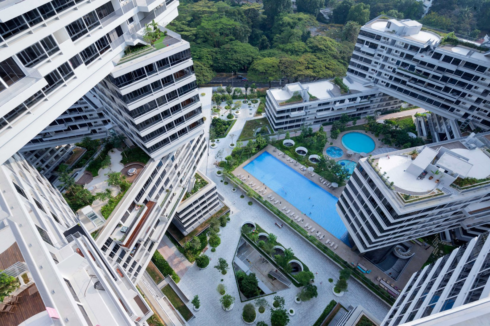 View from terrace. The Interlace, Singapore by OMA / Ole Scheeren. Photograph @ Iwan Baan.