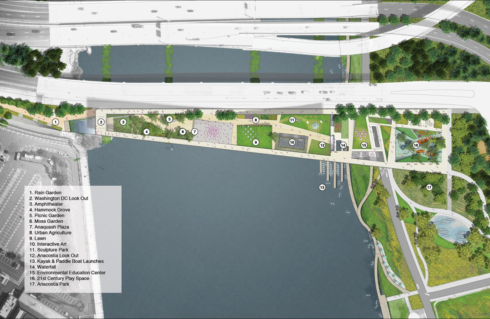 Design Selected for the 11th Street Bridge Park. Image © OMA + OLIN. Courtesy of 11th Street Bridge Park.