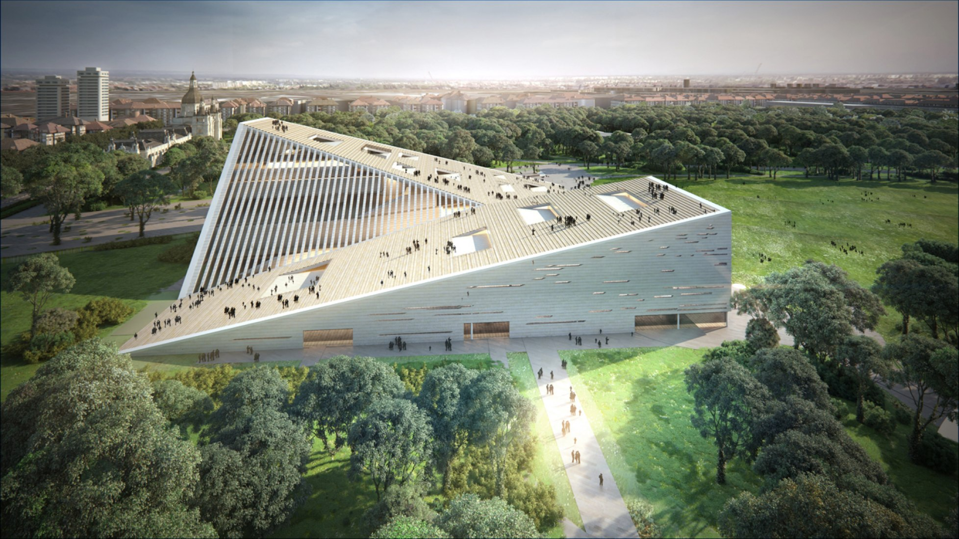 Aerial view. Snøhetta proposal for the New National Gallery/Ludwig Museum. Image courtesy of Liget Budapest Design Competition.