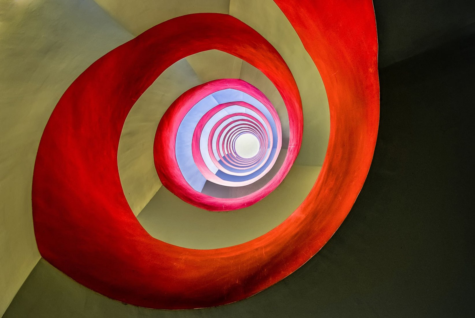 Winner, Architecture, Open Competition: In an office building in Cologne I went down to the base of this staircase, set up my tripod, and fixed it in the middle with a wide-angle 10-24mm lens. (© Holger Schmidtke, 2014 Sony World Photography Awards).