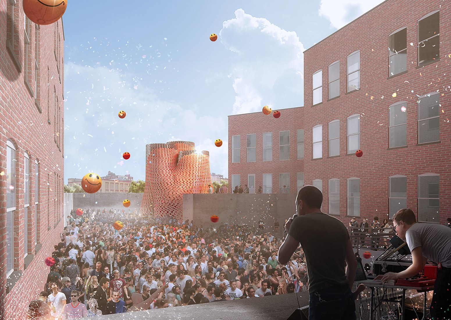 Rendering of The Living's Hy-Fi, winning design of the 2014 Young Architects Program. The Museum of Modern Art and MoMAPS1.