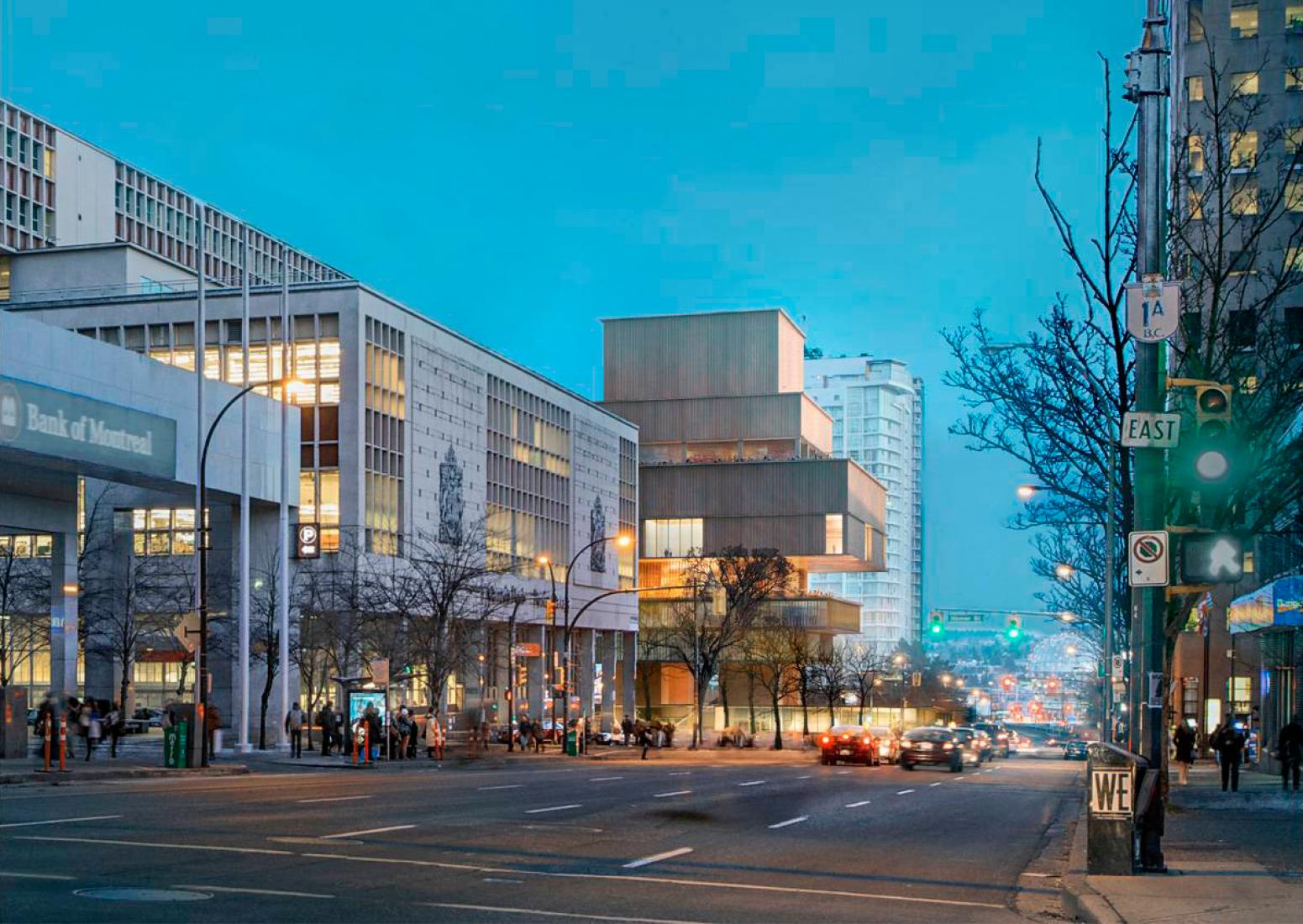 Visualización de la propuesta por la noche de la nueva Vancouver Art Gallery por Herzog & de Meuron. Imagen cortesía de la Vancouver Art Gallery.
