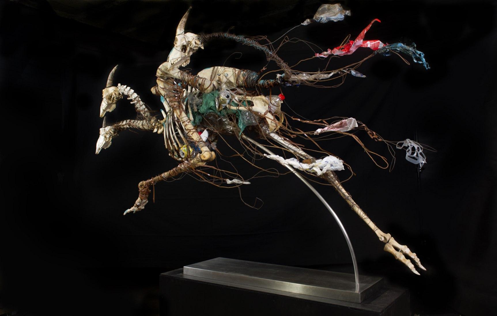 """Corredor de tres cabezas (2011). Ser de 3 cabezas que mide 2,5m x 2m. Cráneos de oveja, tronco de cerdo, patas y caderas de avestruz, alambre, basura y pedestal. Exposición """"Vida Tóxica. Somos naturaleza en evolución tóxica"""". Fotografía © Carlos Bellvehí."""