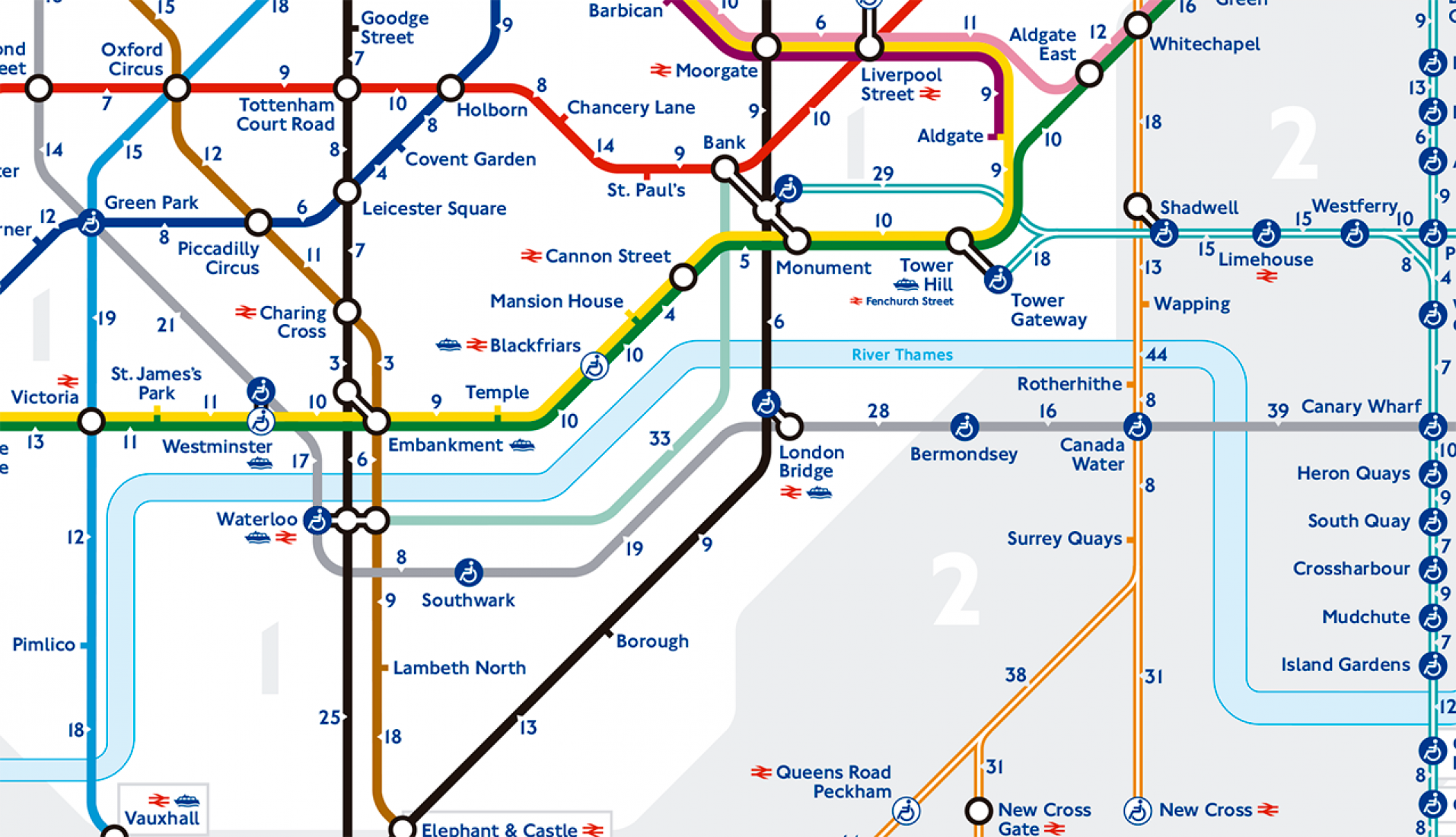 Detail. This is the first official map to show walking times between stations, although there have been several unofficial versions made. Image © Transport for London / Mayor of London.