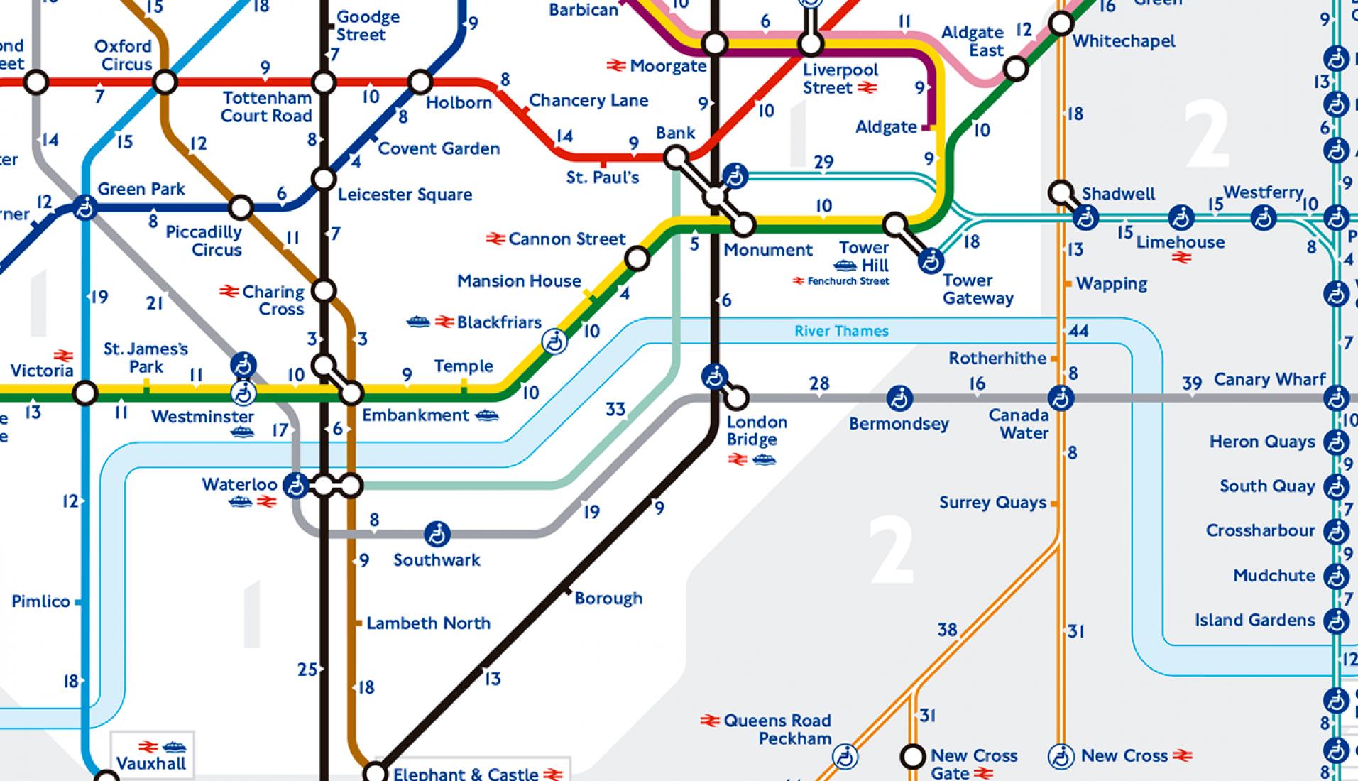 Detalle. Este es el primer mapa oficial que muestra los tiempos que hay andando entre las estaciones, aunque ha tenido varias versiones no oficiales anteriores. Imagen © Transport for London / Mayor of London.