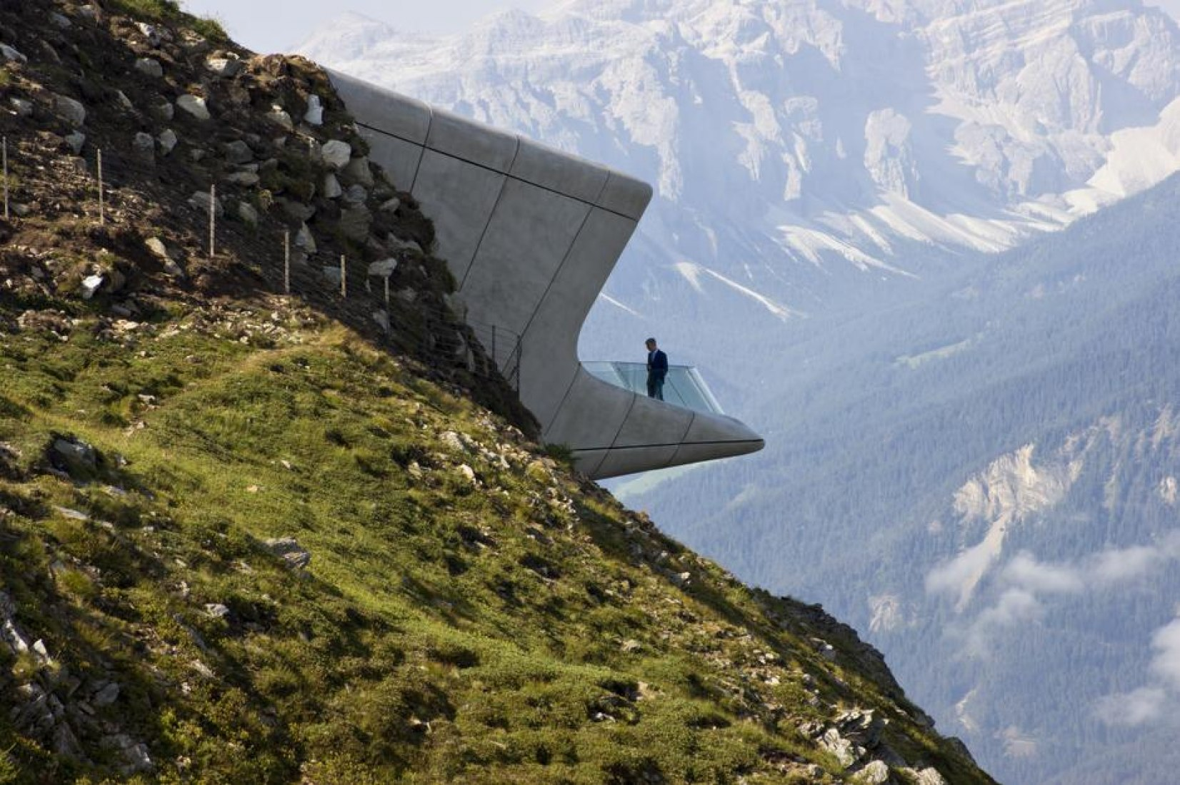 Outside view, balcony detail. Messner Mountain Museum by Zaha Hadid Architects. Photograph © Federica Lusiardi, Inexhibit. Click above to see largest image.
