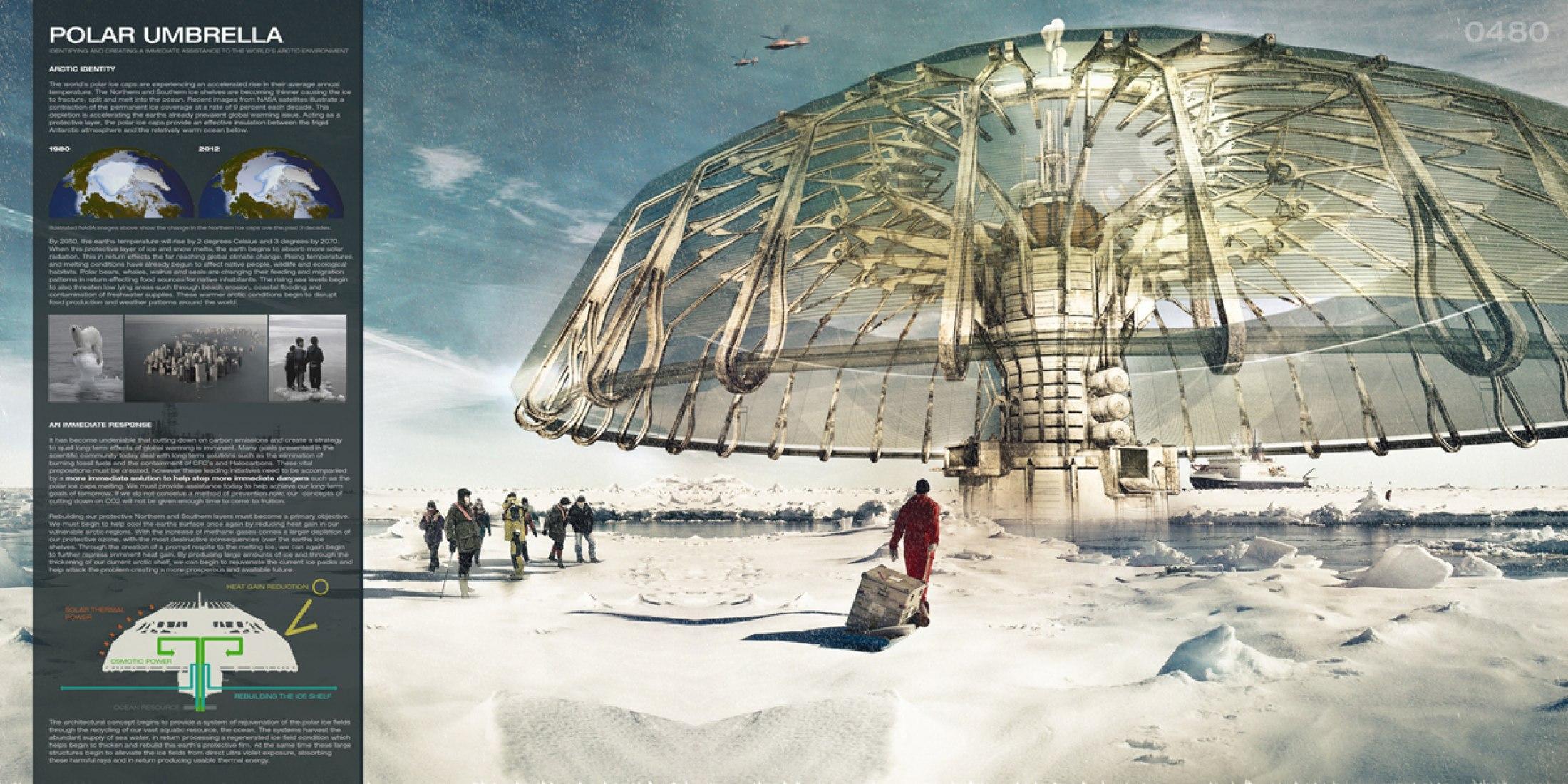 First Place: Polar Umbrella. Buoyant Skyscraper Protects and Regenerates the Polar Ice Caps. Derek Pirozzi. United States.