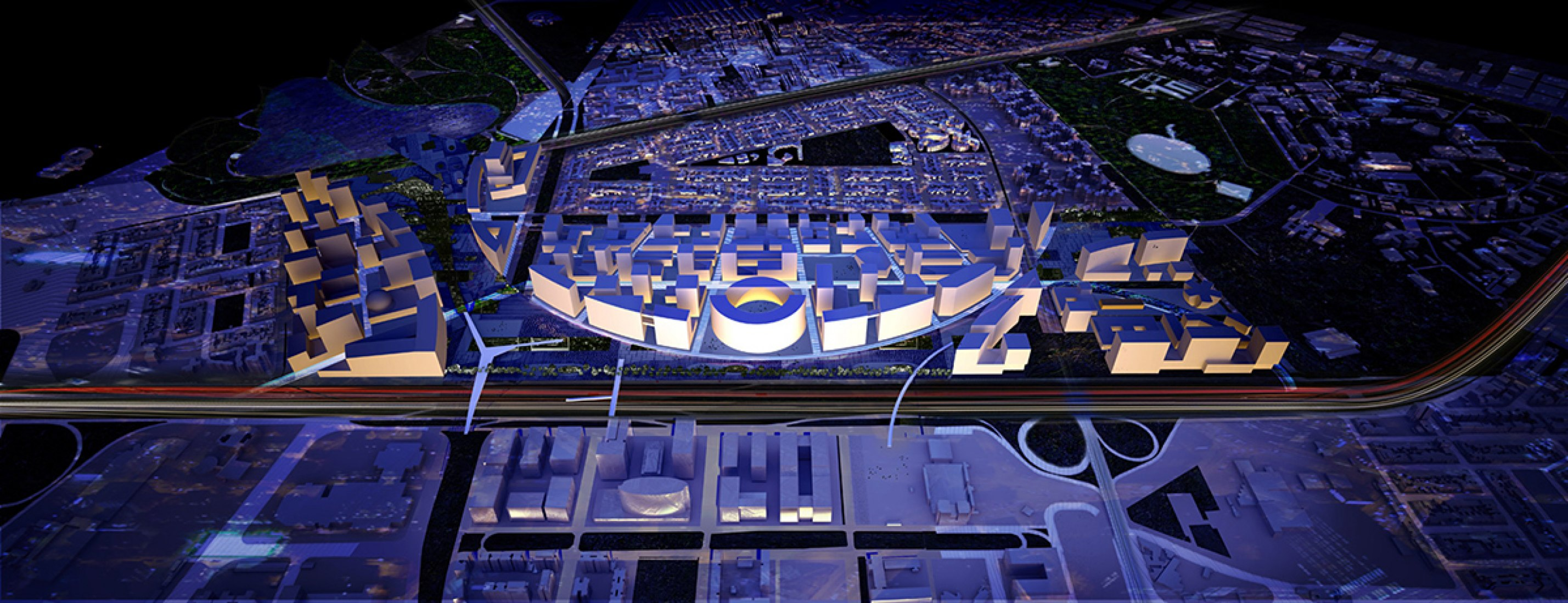 Model. New Bogotá Civic Center Masterplan by OMA.
