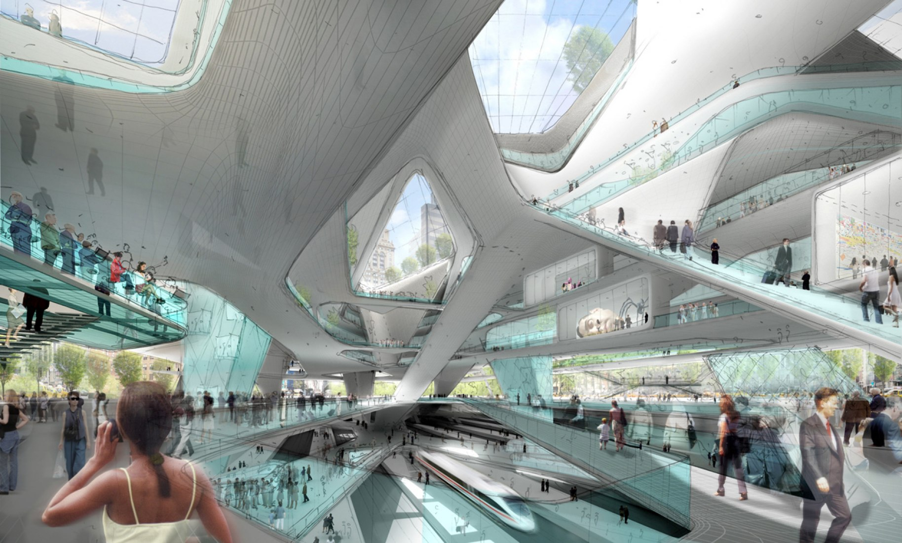 Interior view. View of the new Penn Station. Image courtesy of Diller Scofidio & Renfro