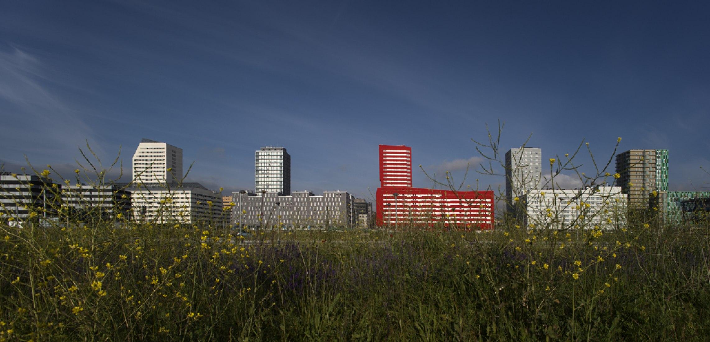 Vista del conjunto. 242 viviendas de protección ofcial por Iñaki Garai Zabala (ACXT Architects). Fotografía © Aitor Ortiz.