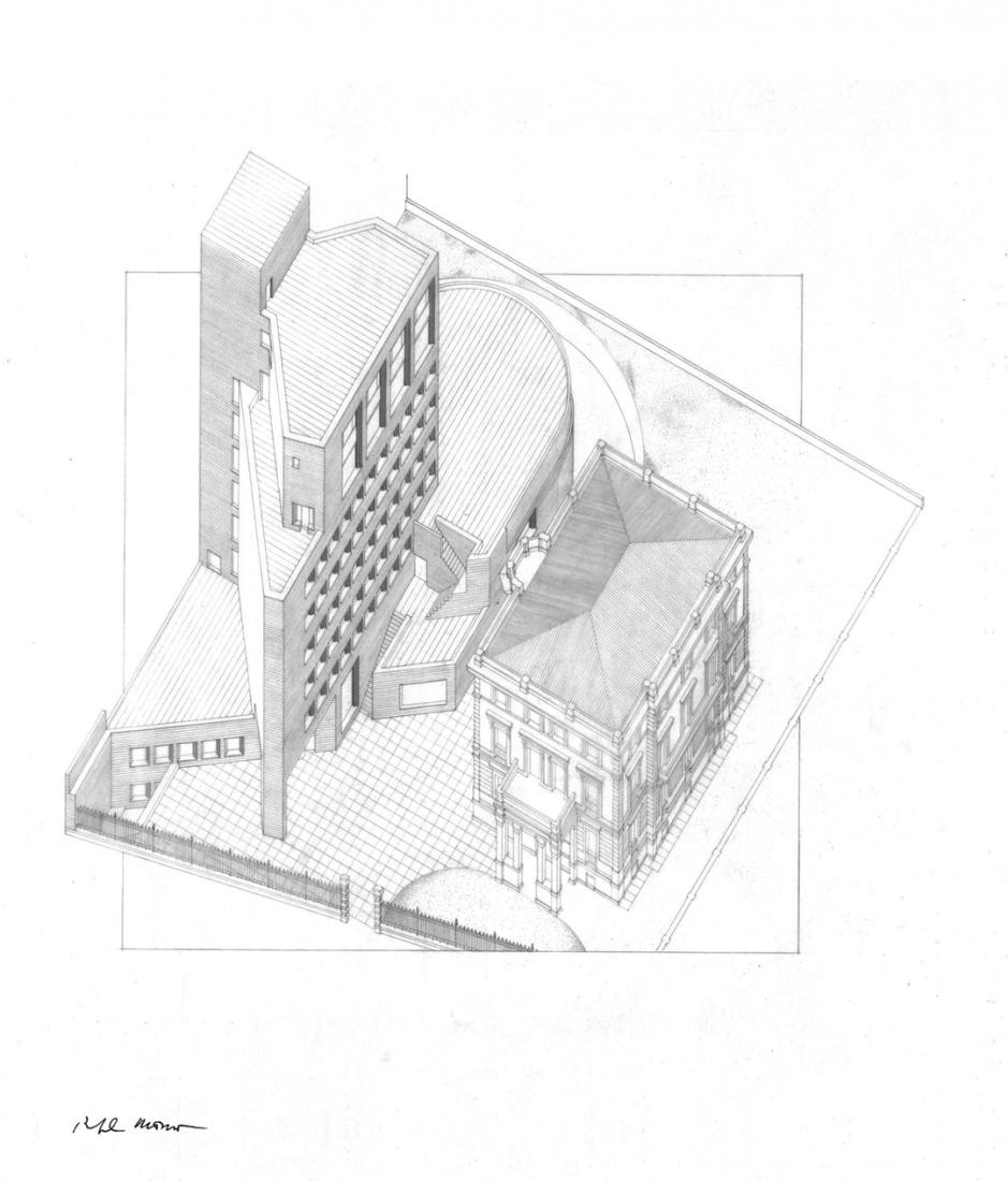 Axonometría con el palacete del Marqués de Mudela. Sede de Bankinter, Madrid, España, 1973-1977. Lápiz sobre papel. © Rafael Moneo / Cortesía Fundación  Barrié.
