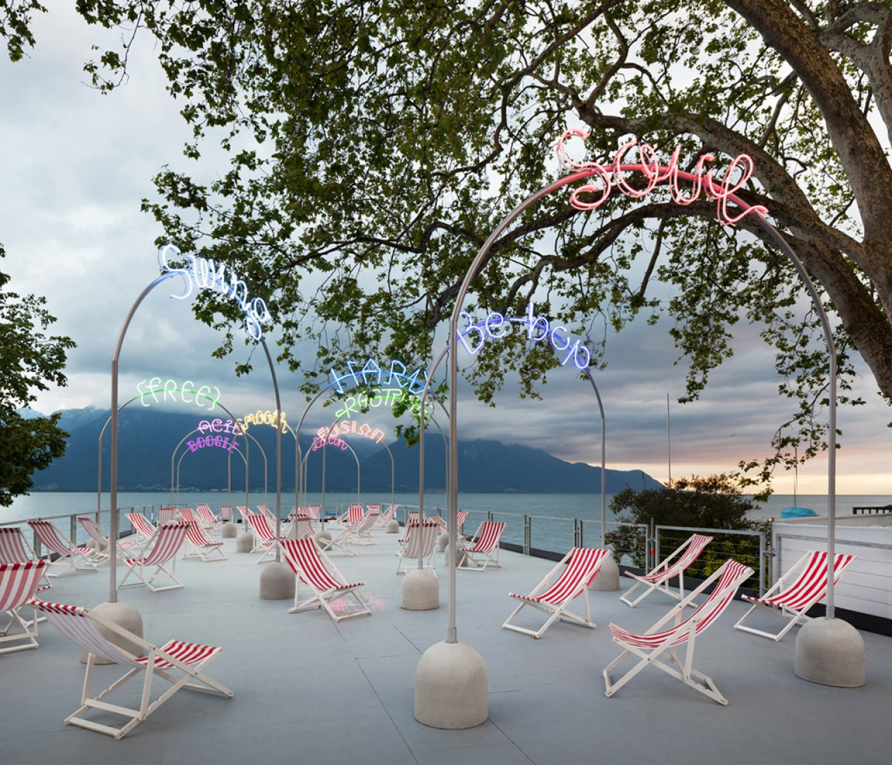 Deck with deckchairs. Bada Bing boardwalk for Montreux Jazz Festival 2013 by Bureau A. Photograph © Dylan Perrenoud.