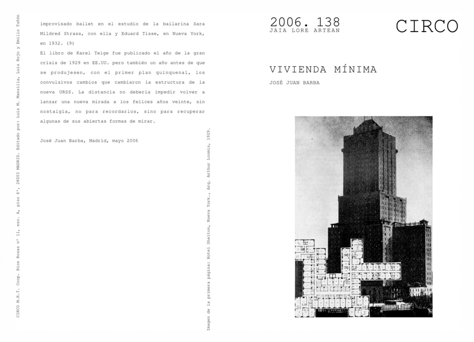 Cover. Minimum Dwelling / Vivienda Minima by José Juan Barba.