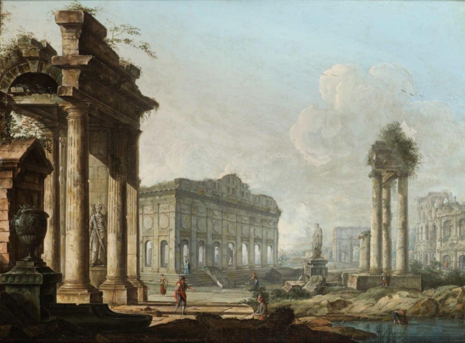 Pietro Bellotti, Capriccio Architecttonico. Archivos de Pinturas del Paisaje, Pietro Bellotti. Another Canaletto. Imagen cortesía de Ca' Rezzonico.