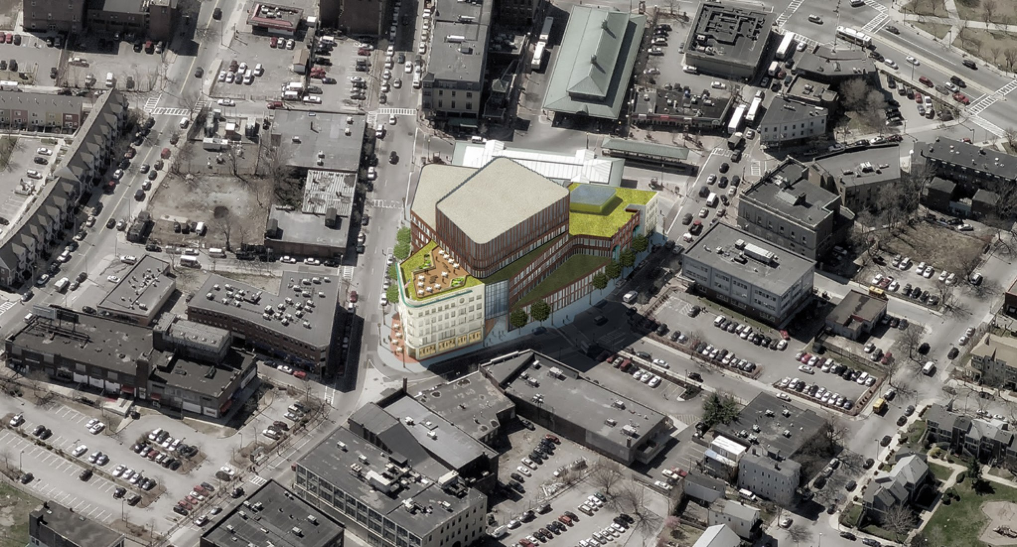 Aerial view of Dudley Square. Sasaki Associates and Mecanoo Architecten.