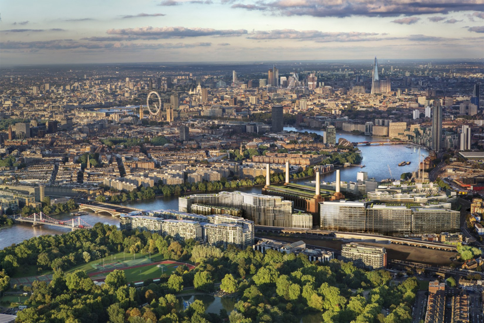 Aerial view to Battersea Power Station  CGI: Battersea Power Station Development Company 2012.
