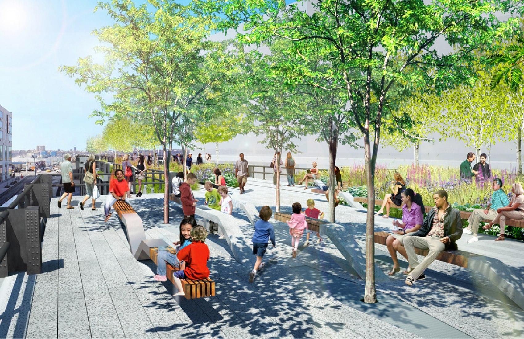 Visualización, zona de arboleda. High Line de Nueva York por Diller Scofidio + Renfro.